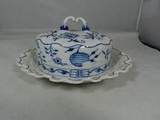 Meissen Blue Onion Crossed Swords Butter Dish Mint Condition