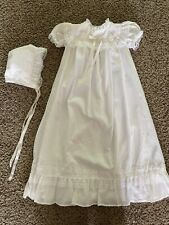 Vintage Baby Christening Gown Or Dedication Dress With Bonnet Newborn- Bea