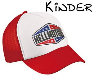 Kinder Trucker Cap Texas Hellmotors Kappe V8 Oldschool Hotrod Basecap Rot weiß