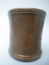 Collected Old China Copper Handmade Carved Crane Pine Tree Brush Pot Decoration