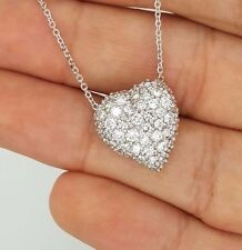 2.00 Ct. ESTATE 14K WHITE GOLD ROUND NATURAL DIAMOND HEART LOVE PENDANT NECKLACE