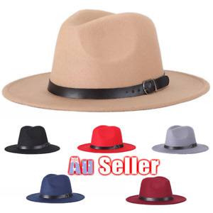 Ladies Gentlemen Wool Felt Fedora Jazz Wide Brim Hat Large Cap AU
