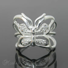 WOMENS GIRLS BUTTERFLY DESIGNER DRESS STERLING SILVER SP ADJUSTABLE RING