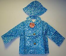 "VINTAGE 1970's UNWORN GIRLS ""LEETOGS"" BUBBLE PRINT PVC RAINCOAT & HAT 2-3 YEARS"