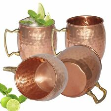 4 Moscow Mule Mug Cup Drinking Hammered Copper Brass Steel Gift Set 16 Oz NEW