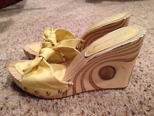 Fornarina Dream 4070 Wedge Heel Sandal Shoe Lime Calf EU 39 US 8.5 Free Shipping