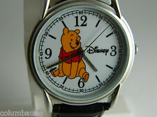 WINNIE THE POOH DISNEY UNISEX WATCH /NEW BATTERYBRUSH SILVER TONE