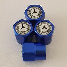 MERCEDES BENZ Blue Metal Valve Dust Caps for all models SLK S CLA C A CLASS VITO