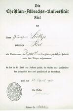 URKUNDE CHRISTIAN-ALBRECHTS-UNIVERSITÄT, KIEL 1920