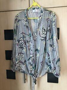 Wallis Grey Floral & Bird Print Shirt Top Size 16 Petite. Tie Waist . Good Con