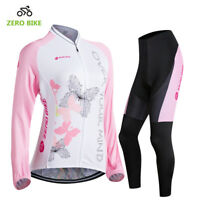 Women's Cycle Jersey Long Sleeve Padded Cycling Pants Kit Bicycle Clothes Set