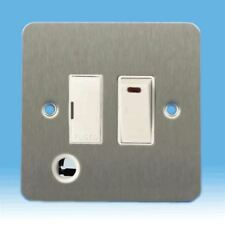 Varilight 13A White Switch Fused Spur, Neon, Flex Outlet Ultraflat Brushed Steel