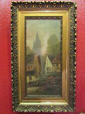 ancien tableau huile sur toile ep1930 signé devillers lmarché village normandie