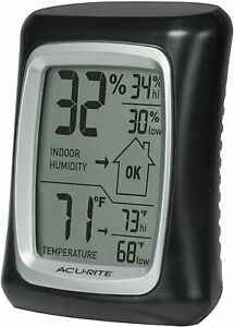 Acurite 00325 Indoor Thermometer Hygrometer With Humidity Gauge Black 0.3 Home