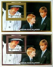 NIGER PRINCESS DIANA STAMPS GOLD SOUVENIR SHEET + SILVER SS PRINCE HARRY WILLIAM