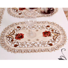 Yazi Oval Embroidery Peony Fabric Placemats Table Decor Doily Cover Gift 30x45cm