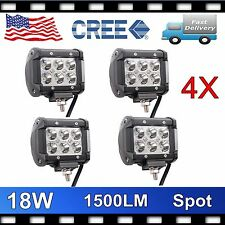 "4""in CREE LED Off Road Light Bar Work Light Lamp 18W Jeep UTV ATV - Spot x 4 pcs"