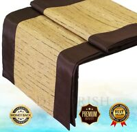 """Contemporary Rectangular Silk Decorative Bed Table Runner 48-120"""" Brown NEW FS"""