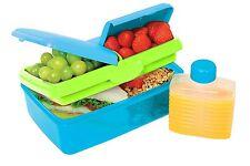 Sistema Lunch Slimline Quaddie Lunchbox Food Storage with Bottle 1.5 L Aqua Blue