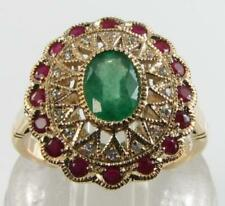 LARGE 9CT 9CT GOLD  EMERALD  INDIAN RUBY DIAMOND ART DECO INS RING FREE SIZE