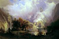 Rocky Mountain Landscape Painting by Albert Bierstadt Art Reproduction