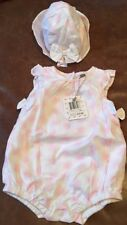 absorba Baby Girl's Pink White Romper 3-6 Months Bows Sun Hat Ruffle Sleeveless