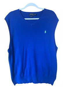 Polo Ralph Lauren Blue Vest Mens XL Thin Lightweight Smart 100% Pima Cotton