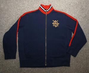 Vtg Men's Polo Ralph Lauren Navy Blue-Red Zip Track Jacket Sweatshirt XXL