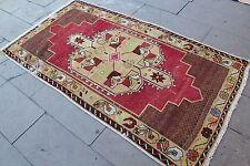 "Vintage Handmade Turkish Oushak Wool  Red Area Rug Carpet 78""x42"""""