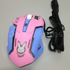 Anime Overwatch D.va DVA Bunny Pink Blue Night Lights USB Laptop Wired Mouse