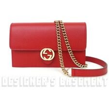 GUCCI red Rosso Pebbled Leather INTERLOCKING G Mini CHAIN bag wallet NWT Authent