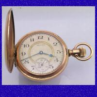 Stunning 10k Gold Waltham 7 Jewel  Hunter Gold & Silver Dial  Pocket Watch 1930