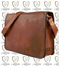 "Leather Handmade Designer J Wilson Bag Vintage Flapover 15"" Laptop Messenger"