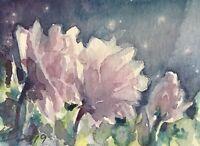 ACEO Original painting Rose Sunset flower Art Originals direct From artist USA