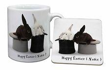 Personalised Rabbits in Hat Mug+Coaster Christmas/Birthday Gift Idea, AR-7PEAMC
