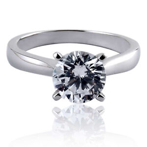 White Gold EP Women's Engagement Wedding Ring Round CZ Solitaire Promise Ring