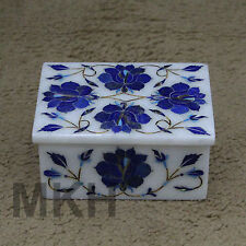 Decorative Marble Jewelry Box Inlay Work Lapis Pietra Dura Handicraft For Gifts