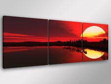 Quadro Moderno 3 pz.  AFRICAN SUNSET 3 - cm 150x50 arredamento stampa su tela