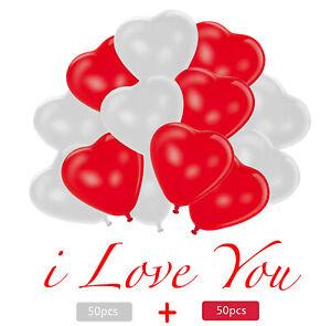 100 teilig rot weiß Herzluftballon Luft-Ballon für Helium Herzballons Deko Party