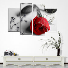 4Pcs Red Rose Flower Oil Painting Print on Canvas Wall Poster Picture Home Decor