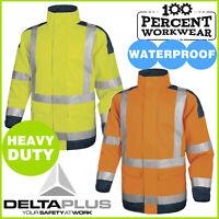 Heavy Duty Waterproof High Visibility Hi Viz Vis Parka Coat Mens Jacket Two Tone