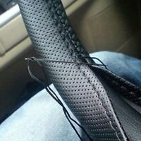 Car Black 38cm DIY PU Leather Auto Steering Wheel Cover With Needles & Thread