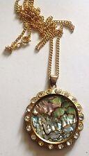pendentif collier ancien couleur or cristaux diamant cercle nacre abalone 2861