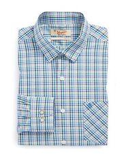 NEW NWT PENGUIN MUNSINGWEAR BLUE plaid MEN DRESS SHIRT 18 36/37 LONG SLEEVE