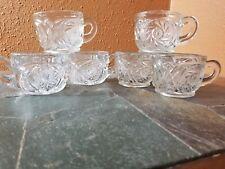 6 Clear Punch Cups Cut Star Design