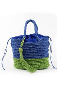 Benetton trendy two tone straw women's beach handbag