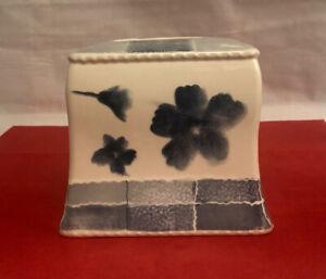 Ceramic Tissue Square Box Cover Holder Cobalt Blue White Floral