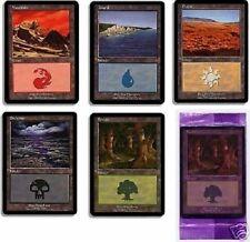 Lot de 5 terrains de base Euroland - Purple Pack Basic Lands - Magic mtg - Euro