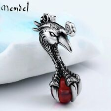 MENDEL Mens Stainless Steel Egyptian Glass Ball Phoenix Bird Pendant Necklace