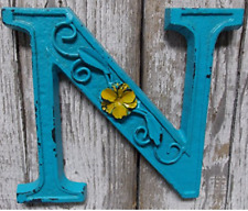 "Blue Cast Iron Wall Letter ""N"" Retro Art 6"" Vintage Style Marquee"